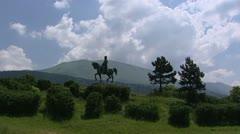 Equestrian statue of Napoleon Bonaparte, Laffrey + pan Stock Footage