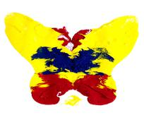abstract colorful butterfly on white background - stock photo