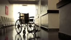 Wheelchair in hospital. - stock footage