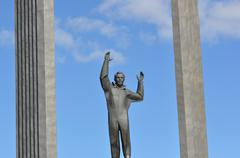 Monument to the first cosmonaut yuri gagarin Stock Photos