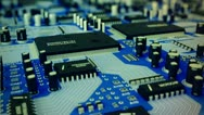 Stock Video Footage of Circuit board. Technology computing CPU motherboard hardware electronics wires