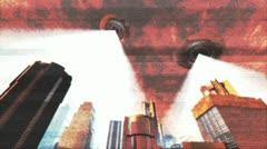 UFO Invasion Scanning in Metropolis Stock Footage
