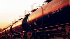 Rail oil car. Crude oil petrol gas cargo transportation. Industrial freight. Sun Stock Footage