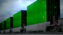 Cargo container carriage transportation logistics goods over railway. Shipment. - stock footage