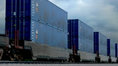 Cargo container carriage transportation logistics goods over railway. Shipment. Stock Footage