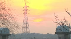 Electricity pylon,Aerial tramway,Sunset Stock Footage