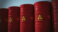 Biohazard barrel Danger disaster garbage sickness pollution environment  Stock Footage