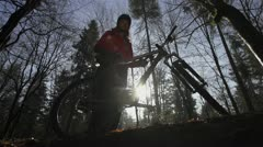 Portrait of a mountain biker Stock Footage