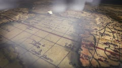 Fly by of an ancient map Stock Footage