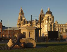 Stock Photo of liver building and port of liverpool building, liverpool