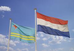Flags of holland and aruba Stock Photos
