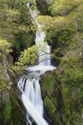 waterfall, llanberis, snowdonia, north wales - stock photo