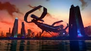 Stock Video Footage of Futuristic City Skyline spaceship sci-fi aliens concept art technology skyscrape