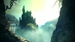 Fantasy shot. Castle on the rock Old fortress medieval building from stone kigs Stock Footage