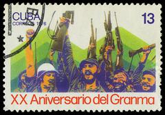 Stock Photo of cuba - circa 1976: a stamp shows  fidel castro and che guevara , circa 1976