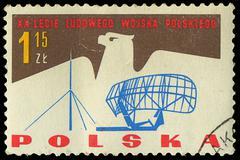 Poland - circa 1965: a stamp printed in poland shows the army of polish, circ Stock Photos