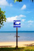 tsunami evacuation route sign - stock photo