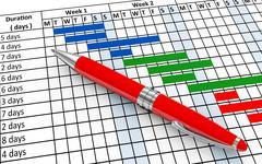 3d pen and gantt chart Stock Illustration