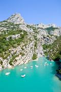 Stock Photo of boats on gorges du verdon canyon. real tilt shift photography