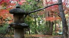 Stone Lantern In Yoshikien Garden Stock Footage