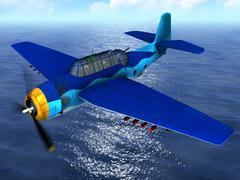 Torpedo bomber fly Stock Illustration