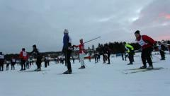 Stock Video Footage of Vasaloppet, cross-country skiing