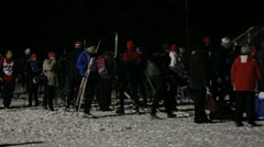 Vasaloppet, cross-country skiing, before start Stock Footage