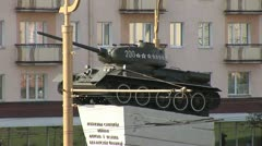 Tank monument in Belarus in Grodno Stock Footage