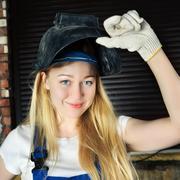 beautiful woman in welder - stock photo