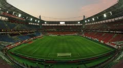 Workers clean stadium after match of Russia with Cote d Ivoire Stock Footage
