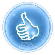 thumb up icon ice, approval hand gesture, isolated on white background. - stock illustration