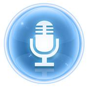 Microphone icon ice, isolated on white background Stock Illustration