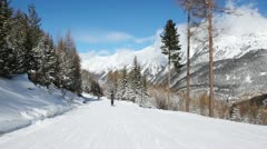 Skiers go on mountain slope downwards near firs Stock Footage