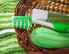 Toothbrush and soap. set for hygiene. Stock Photos