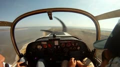 Inside the cockpit of small private plane - stock footage