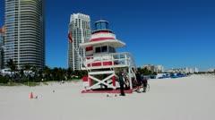 Lifeguard station - Miami Stock Footage