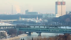 Cityscape with Academy of Science, Shuhovskaya tower and traffic Stock Footage