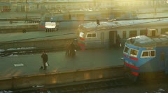 People at the main train station in Odessa, Ukraine Stock Footage