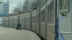 Commuter train departs from the main train station in Odessa, Ukraine Stock Footage