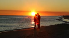 Retirees Romance Sunset Stock Footage