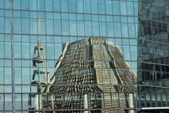 Cathedral Sao Sebastian, reflected in glass - stock photo