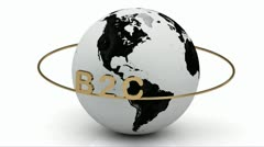 B2C on a gold ring rotates around the earth Stock Footage