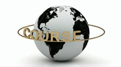 Course on a gold ring rotates around the earth Stock Footage