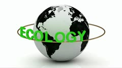 Green ecology on a gold ring rotates around the earth Stock Footage