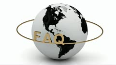 FAQ on a gold ring rotates around the earth Stock Footage