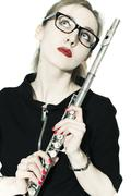 Stock Photo of woman with a flute and glasses on white background