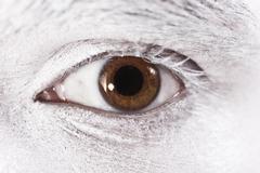 Beautiful brown eyes male closeup Stock Photos