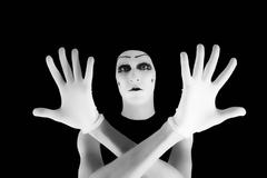 portrait of the mime in white gloves - stock photo