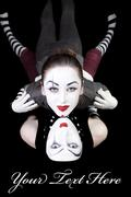 two mimes on black background - stock photo