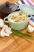 mushroom julienne casserole - stock photo